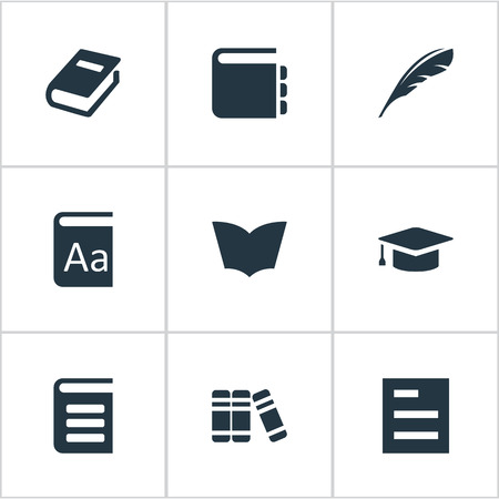 Vector Illustration Set Of Simple Reading Icons. Elements Notebook, Academic Cap, Encyclopedia And Other Synonyms Notepad, Library And Encyclopedia.