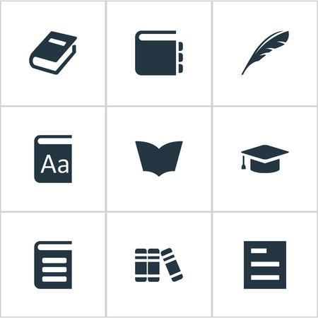 Vector Illustration Set d'icônes de lecture simple. Cahier d'éléments, casquette académique, encyclopédie et autres synoptiques de synonymes, bibliothèque et encyclopédie. Banque d'images - 76255838