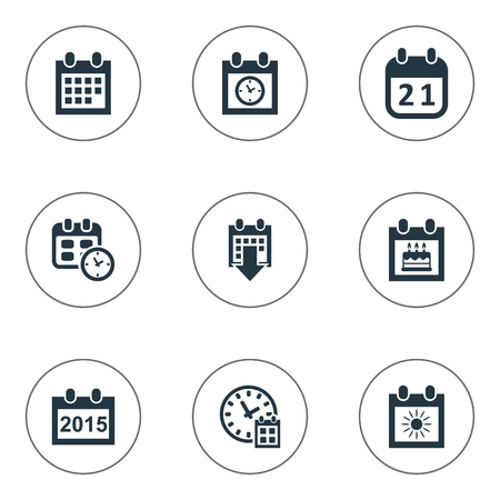 Vector Illustration Set Of Simple Calendar Icons. Elements Special Day, Date Block, History And Other Synonyms Birthday, Deadline And Time.