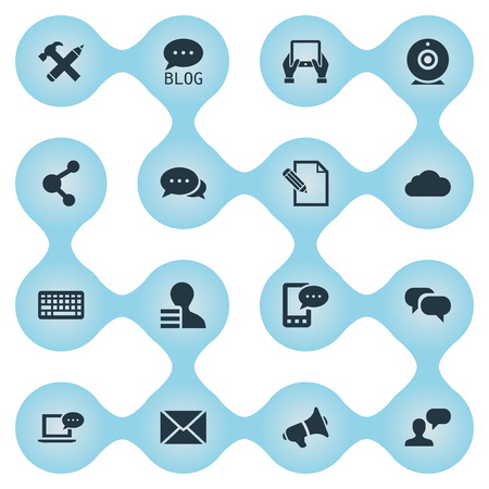 Vector Illustration Set Of Simple Newspaper Icons. Elements Man Considering, Keypad, E-Letter And Other Synonyms Man, Considering And Broadcast.