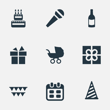 単純な休日のアイコンのベクトル イラスト セット。要素の装飾、音声、飲料および他の類義語の赤ちゃん、フィズし、パーティーします。  イラスト・ベクター素材