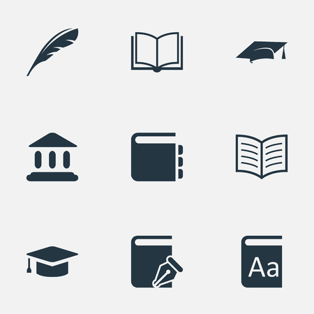 literature: Vector Illustration Set Of Simple Books Icons. Elements Sketchbook, Academic Cap, Academic Cap And Other Synonyms Alphabet, Academy And School.