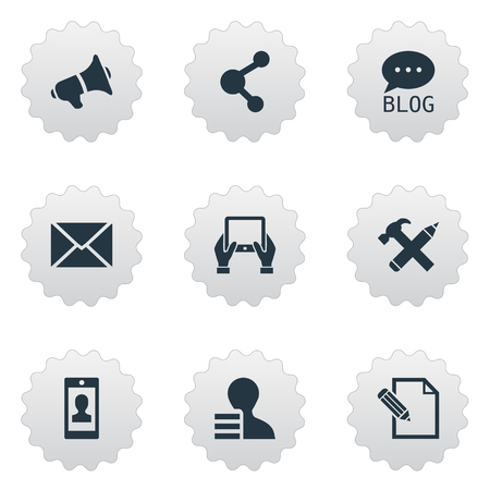 Vector Illustration Set Of Simple Blogging Icons. Elements Post, Gain, Repair And Other Synonyms Repair, Man And Tablet.