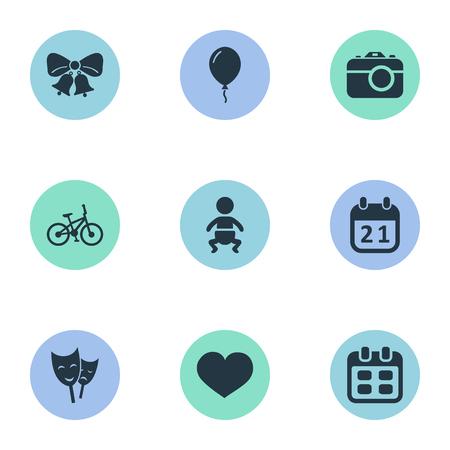 Vector illustratie Set van eenvoudige verjaardag iconen. Elementen camera, masker, baby- en andere synoniemagen, klokken en camera.