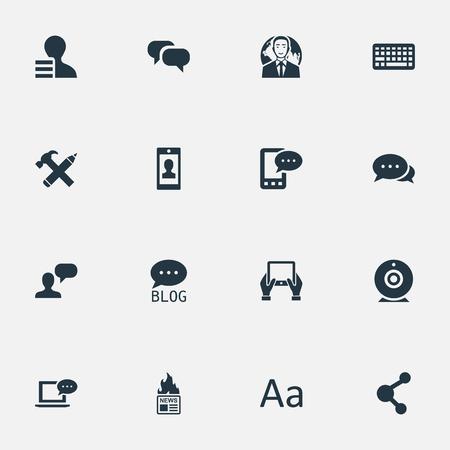 벡터 일러스트 레이 션 간단한 블로깅 아이콘의 집합입니다. 요소 메모장, 키패드, Cedilla 및 기타 동의어 메모장, 네트워크 및 사이트.