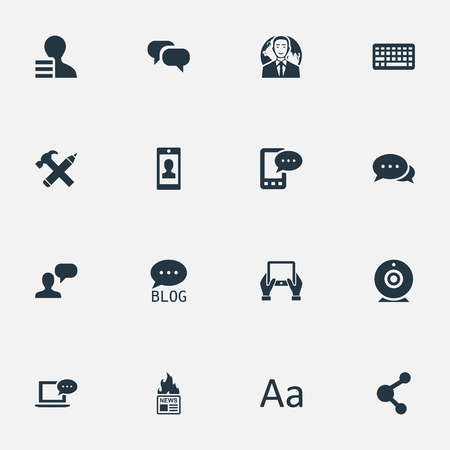 Vector Illustration Set Of Simple Blogging Icons. Elements Notepad, Keypad, Cedilla And Other Synonyms Notepad, Network And Site. Illustration