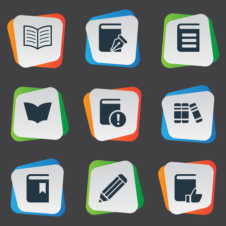 literature: Vector Illustration Set Of Simple Books Icons. Elements Recommended Reading, Reading, Bookshelf And Other Synonyms Pencil, Notebook And Page.