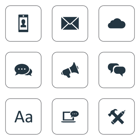 building site: Vector Illustration Set Of Simple Newspaper Icons. Elements Repair, Post, Loudspeaker And Other Synonyms Smartphone, Missive And Pencil.