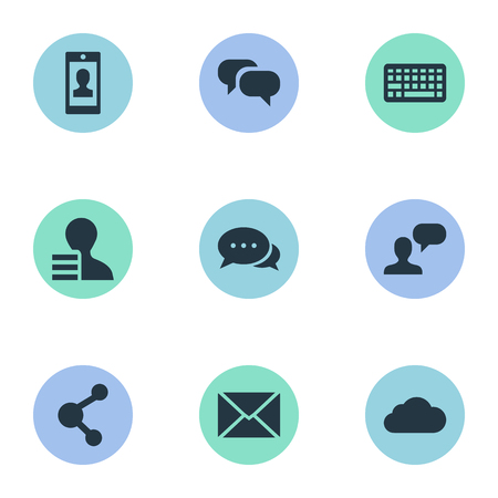 Vector Illustration Set Of Simple Blogging Icons. Elements Profile, Share, Argument And Other Synonyms Cloud, Smartphone And Argument. Çizim