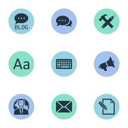 Vector Illustration Set Of Simple User Icons. Elements Keypad, Argument, Post And Other Synonyms Keyboard, Cedilla And Blog. Çizim