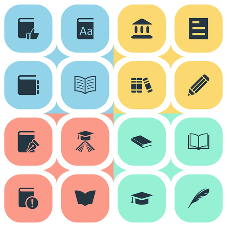 Vector Illustration Set Of Simple Education Icons. Elements Reading, Plume, Recommended Reading And Other Synonyms Literature, Textbook And Academic. Illustration