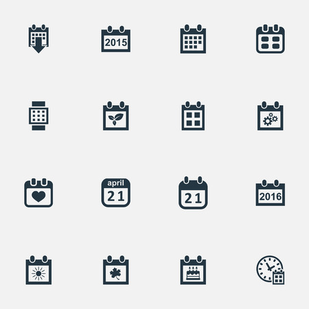 Vector Illustration Set Of Simple Calendar Icons. Elements History, Annual, 2016 Calendar And Other Synonyms Sun, Heart And Data.