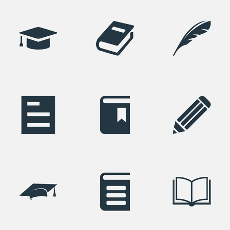 Illustration vectorielle définie des icônes de lecture simple. Éléments Plume, Encyclopédie, bloc-notes vide et autres synonymes Note, Encyclopédie et livre. Banque d'images - 76638668