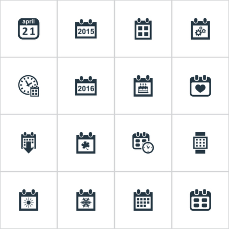 almanac: Vector Illustration Set Of Simple Plan Icons. Elements Date, Almanac, Deadline And Other Synonyms Summer, Birthday And Gear.