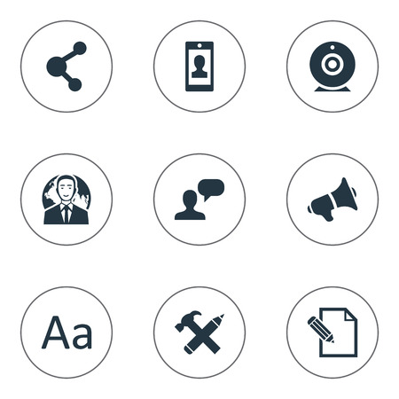 Vector Illustration Set Of Simple Newspaper Icons. Elements Broadcast, Profile, Man Considering And Other Synonyms Typography, Relation And Pencil.