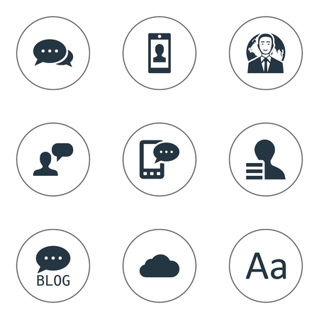 Vector Illustration Set Of Simple User Icons. Elements Cedilla, Overcast, Argument And Other Synonyms Cloud, Profile And Man. Çizim