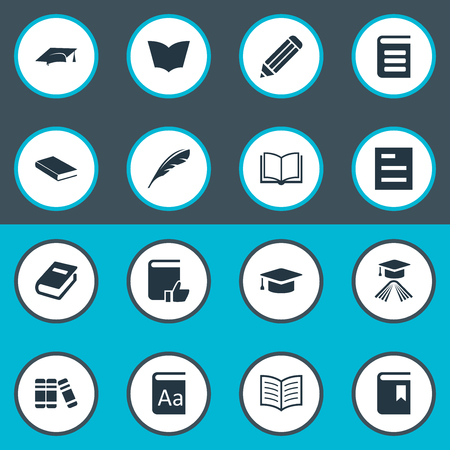 Vector Illustration Set Of Simple Books Icons. Elements Reading, Alphabet, Encyclopedia And Other Synonyms Quill, Library And Recommended. Illustration