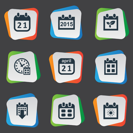 note pad: Vector Illustration Set Of Simple Calendar Icons. Elements Summer Calendar, Reminder, Agenda And Other Synonyms Data, Annual And Day.