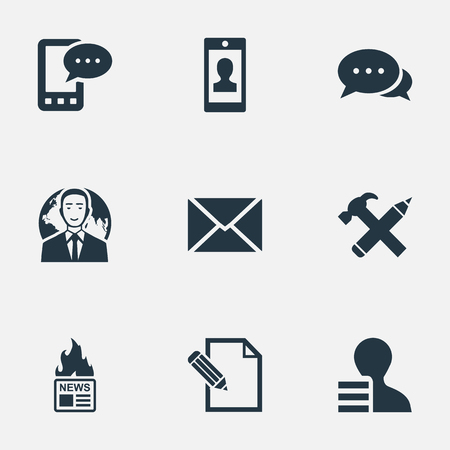 Vector Illustration Set Of Simple User Icons. Elements Repair, Argument, Gain And Other Synonyms Epistle, Smartphone And Profile.