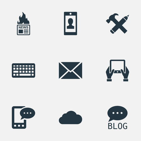 Vector Illustration Set Of Simple Blogging Icons. Elements Notepad, Keypad, Overcast And Other Synonyms Message, Post And Hot. Ilustrace