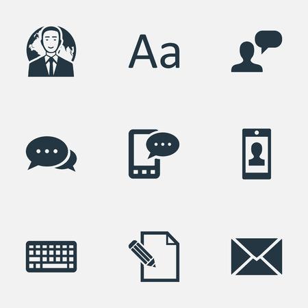 Vector illustratie Set van eenvoudige bloggen pictogrammen. Elementen Cedilla, Man gezien, Argument en ander synoniemen-toetsenbord, Cedilla en debat.
