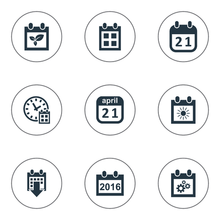 flotation: Vector Illustration Set Of Simple Plan Icons. Elements History, Remembrance, Summer Calendar And Other Synonyms Plant, Almanac And Event.
