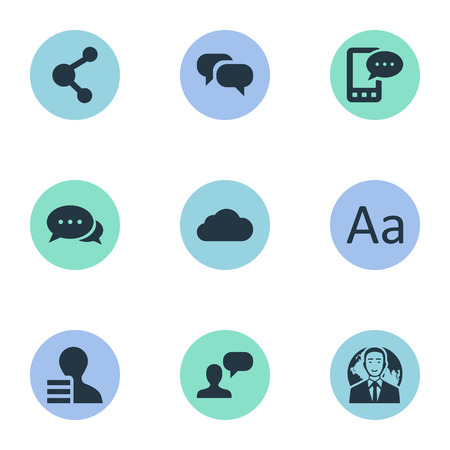 Vector Illustration Set Of Simple User Icons. Elements Gain, Cedilla, Share And Other Synonyms Overcast, Gain And Network.