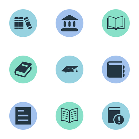 Vector Illustration Set Of Simple Education Icons. Elements Notebook, Journal, Important Reading And Other Synonyms School, Reading And Blank. Ilustrace