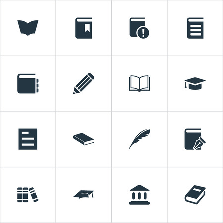 Vector Illustration Set Of Simple Books Icons. Elements Sketchbook, Book Cover, Important Reading And Other Synonyms Bookmark, Encyclopedia And Bookshelf.