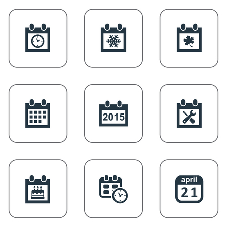 Vector Illustration Set Of Simple Calendar Icons. Elements Date Block, Renovation Tools, Remembrance And Other Synonyms Birthday, Remembrance And Block.
