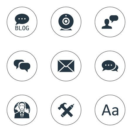 envelope: Vector Illustration Set Of Simple Blogging Icons. Elements Argument, Broadcast, Site And Other Synonyms International, Typography And Argument.