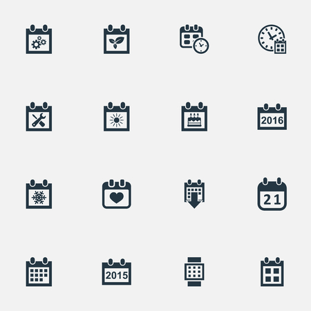 Vector Illustration Set Of Simple Plan Icons. Elements Summer Calendar, Deadline, Almanac And Other Synonyms Spring, Agenda And Day.