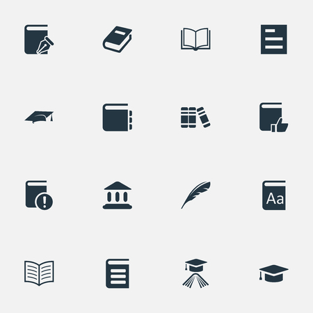 Vector Illustration Set Of Simple Reading Icons. Elements Book Page, Academic Cap, Alphabet And Other Synonyms Literature, Write And Academic.