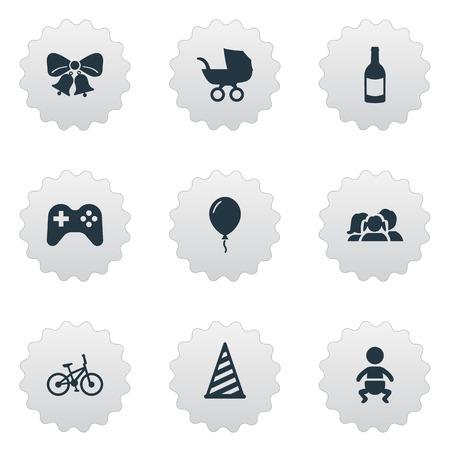 Vector illustratie Set van eenvoudige verjaardag iconen. Elements Bicycle, Domestic, Beverage And Other Synoniemen Kid, drank en partij.