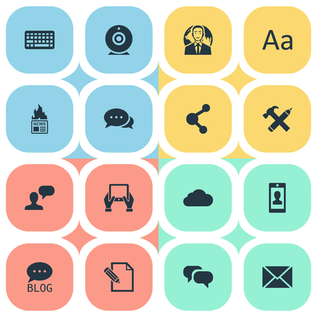 building site: Vector Illustration Set Of Simple Newspaper Icons. Elements Broadcast, Argument, Overcast And Other Synonyms Keyboard, International And Conversation. Illustration