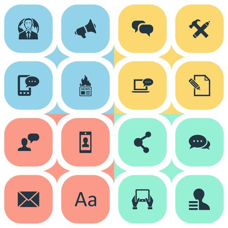 Vector illustratie Set van eenvoudige bloggen pictogrammen. Elements Gazette, Gain, Post en andere synoniemen schrijven, Kladblok en Man. Stock Illustratie