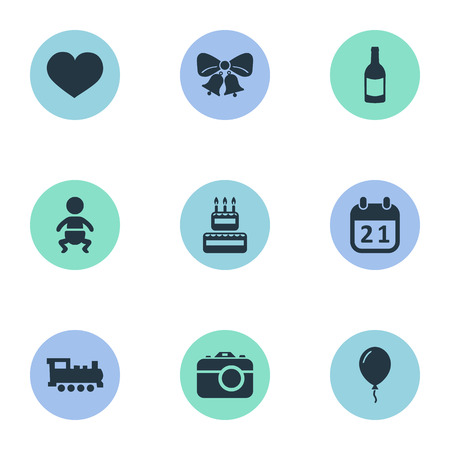 Vector Illustration Set Of Simple Holiday Icons. Elements Infant, Beverage, Special Day And Other Synonyms Camera, Bells And Infant.