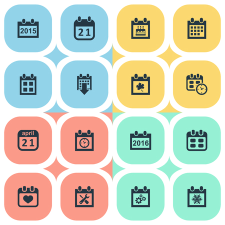 almanac: Vector Illustration Set Of Simple Calendar Icons. Elements Agenda, Annual, Planner And Other Synonyms Heart, Almanac And Snowflake.