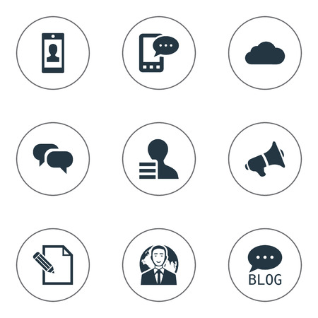 Vector Illustration Set Of Simple Newspaper Icons. Elements Loudspeaker, Overcast, Gossip And Other Synonyms Phone, Contract And Earnings.