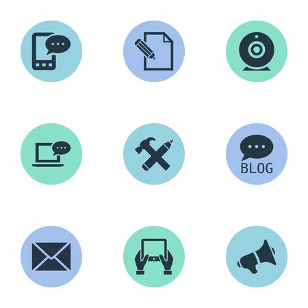 Vectorillustratiereeks Eenvoudige Gebruikerspictogrammen. Elementen Luidspreker, Site, Laptop en andere synoniemen komen, bericht en e-brief. Stock Illustratie