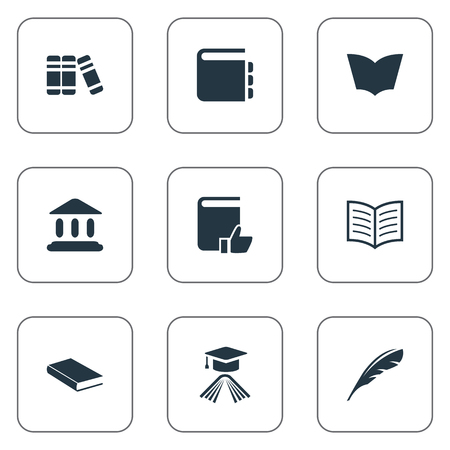 Vector Illustration Set Of Simple Reading Icons. Elements Book Page, Journal, Graduation Hat And Other Synonyms Plume, Graduation And School.