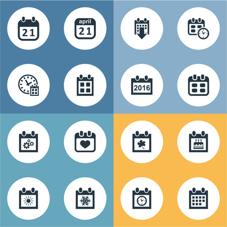 flotation: Vector Illustration Set Of Simple Time Icons. Elements Date Block, Event, Date And Other Synonyms Snowflake, Birthday And Autumn.