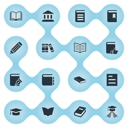 Vector Illustration Set Of Simple Reading Icons. Elements Recommended Reading, Bookshelf, Graduation Hat And Other Synonyms Note, Favored And Bookshelf.