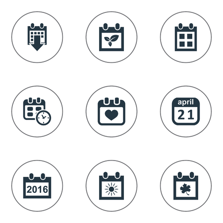 Vector Illustration Set Of Simple Date Icons. Elements Reminder, Leaf, Remembrance And Other Synonyms Sun, Day And Almanac. Illustration