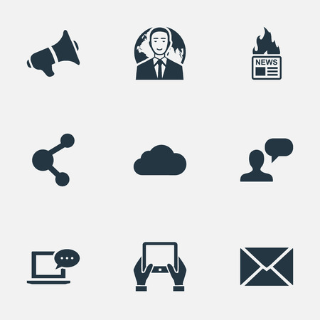 Vector Illustration Set Of Simple User Icons. Elements Share, Gazette, Man Considering And Other Synonyms Notepad, Speaker And Man. Illustration