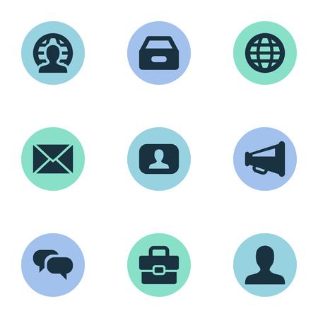 벡터 일러스트 레이 션 간단한 비즈니스 아이콘의 집합입니다. 요소 세계, 인간,받은 편지함 및 기타 동의어 사용자, 상자 및 서류.