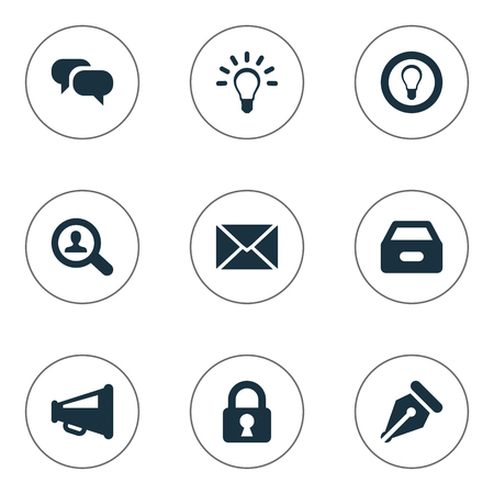 Vector Illustration Set Of Simple Business Icons. Elements Megaphone, Padlock, Inbox And Other Synonyms Idea, Mind And Inbox.