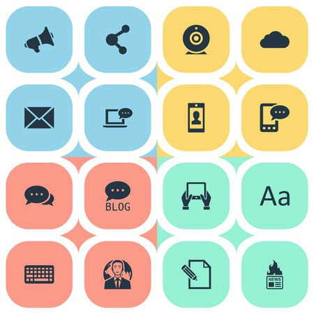Vector Illustration Set Of Simple Blogging Icons. Elements Laptop, Share, Site And Other Synonyms News, Broadcast And Network.