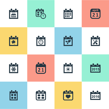 Vector Illustration Set Of Simple Calendar Icons. Elements Renovation Tools, Date Block, Heart And Other Synonyms Calendar, Block And Birthday. Illustration