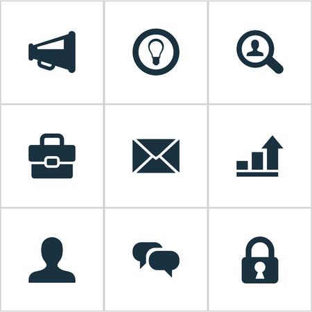 벡터 일러스트 레이 션 간단한 작업 아이콘의 집합입니다. 요소 돋보기, 익명, 전구 및 기타 동의어 보호, 채팅 및 배포.